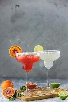 冷凍ライムマルガリータとブラッドオレンジマルガリータのカクテルミックス