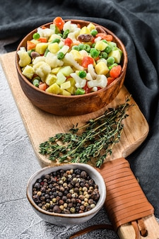 Frozen raw vegetables in a bowl