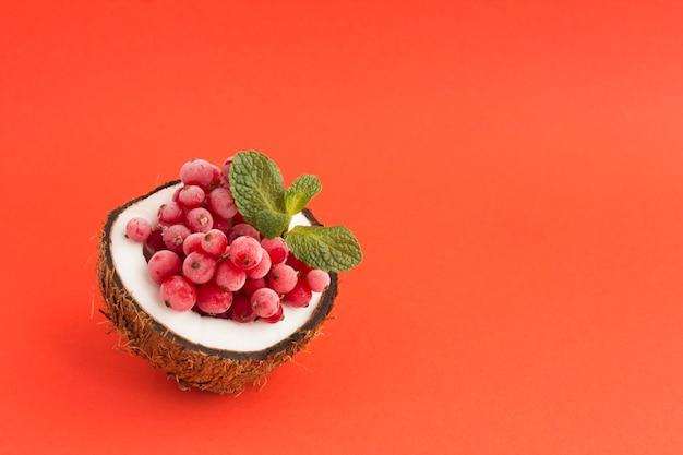 赤い背景に半分のココナッツの冷凍赤スグリ