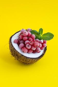 半分ココナッツの冷凍赤スグリ。