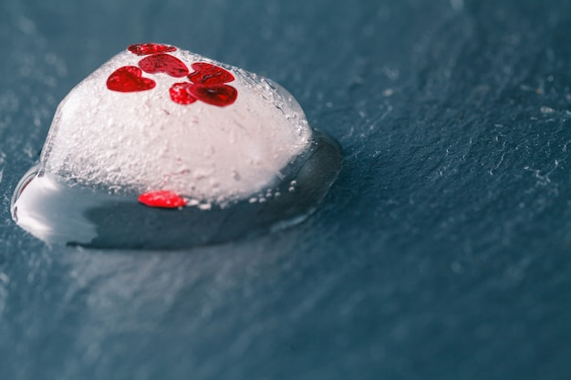 Frozen red heart