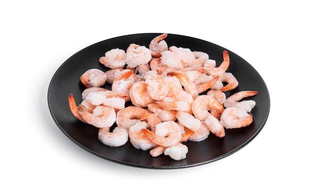 Frozen shrimp isolated on white.