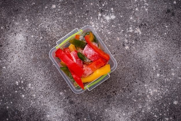 Frozen sliced colorful bell peppers