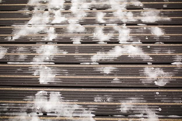 舗装面の凍った雪。クローズアップショット