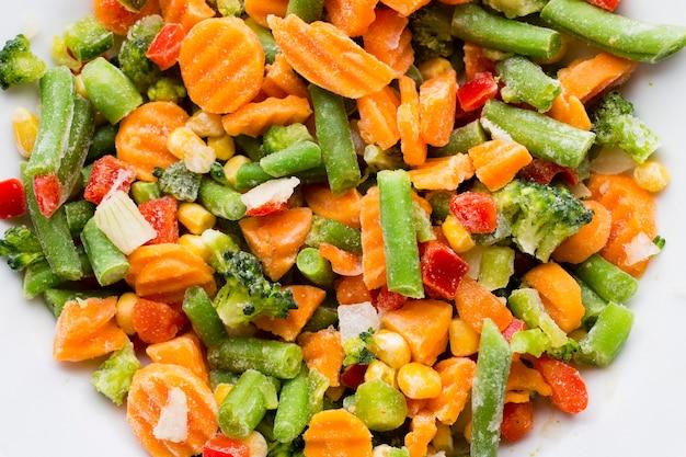 白い皿に冷凍野菜。
