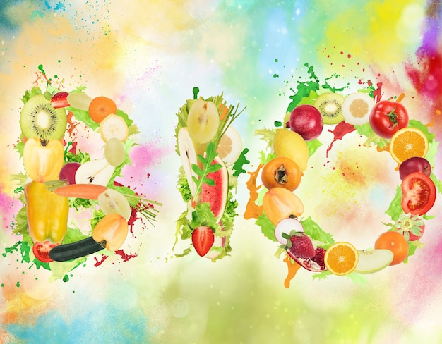 Фрукты и овощи, образующие слово «био» с цветными вкраплениями. здоровая био-еда для оздоровительной концепции