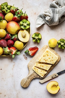 Fruit and apricot cheese flat lay