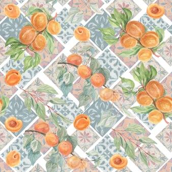 과일 살구 타일 세라믹 오리엔탈 패턴 Azulejo 수채화 세트 손으로 그린 원활한 패턴 프리미엄 사진