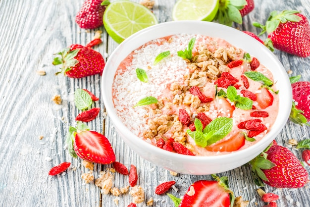 Fruit and berry breakfast smoothie bowl