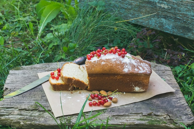Fruit cake with red currant and almond in the garden