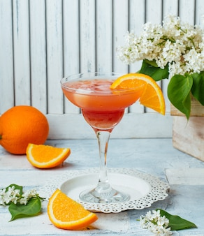 Fruit cocktail with orange slice
