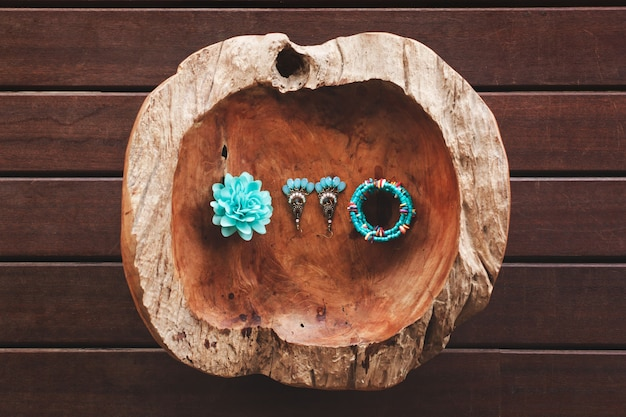 The fruit of the coco de mer. the decoration of the bride. flower. bracelet. earrings. tiffany.