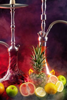 Fruit flavor hookah isolated on black background