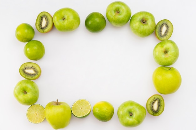Fruit frame on white background