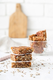 Fruit nut bars, useful components, for healthy concept. light background