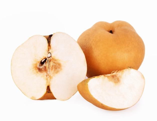 과일, 배, 흰색 바탕에 황금