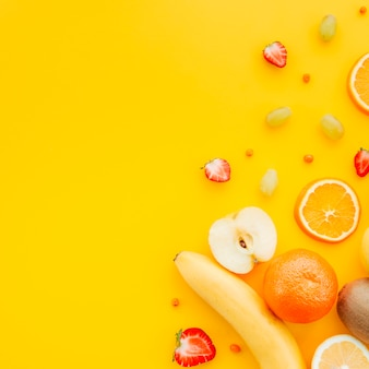 Fruit platter on yellow background