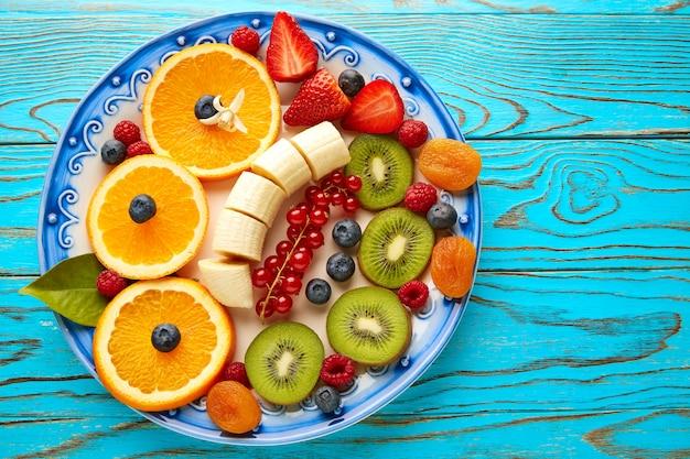 Fruit salad breakfast orange banana kiwi berries