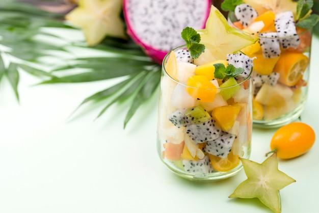 Fruit salad in glasses