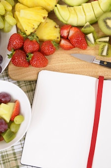 Fruit salad with red cookbook