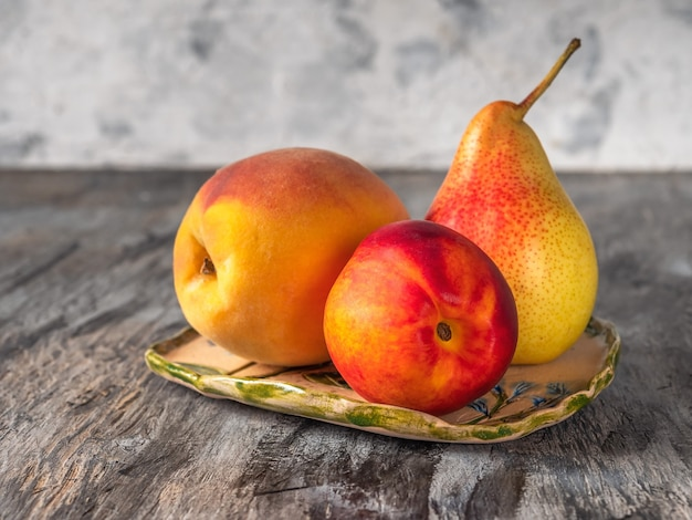 Fruit set on a decorative plate for a light snack
