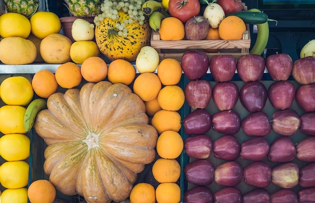 Fruit at the street farmers market fresh summer fruits for juice and smoothies summer vitamins healt...