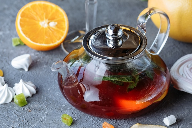 Fruit tea with mint, oranges and cranberries