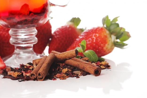 Fruit tea with strawberry