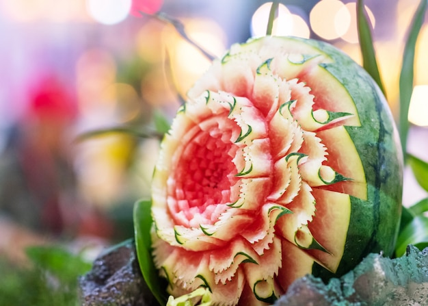 Fruit and vegetable carvings, display thai fruit carving decoration