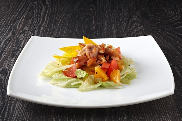 Fruit and vegetable salad with meat