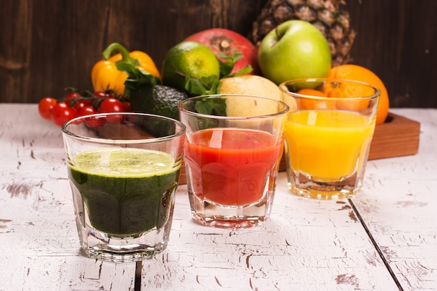 Fruit vegetable smoothies and juice with ingredients