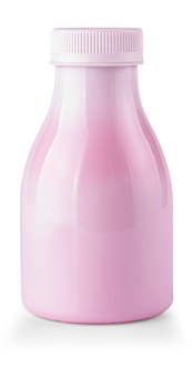 The fruit yogurt bottle isolated on white backgroung