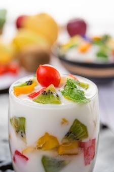 Fruit yogurt smoothie in glass.
