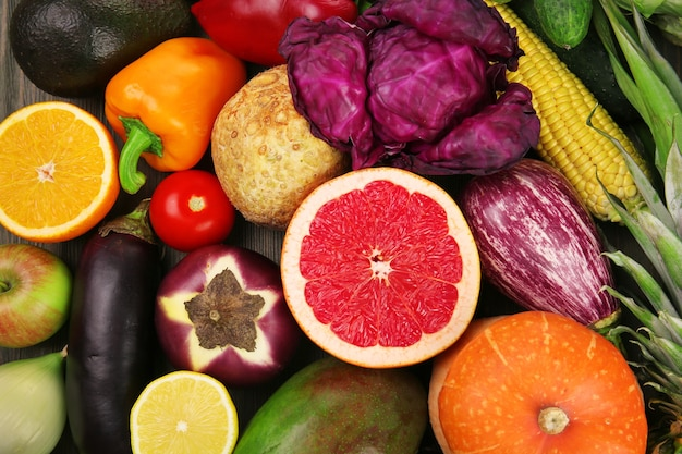 果物と野菜のクローズアップ