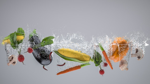 Фрукты и овощи, которые падают в воду и создают брызги.