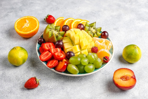 Fruits and berries platter, vegan cuisine.