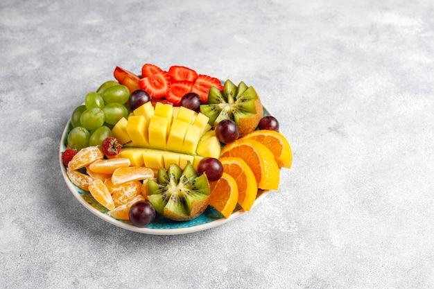 Fruits and berries platter,vegan cuisine.