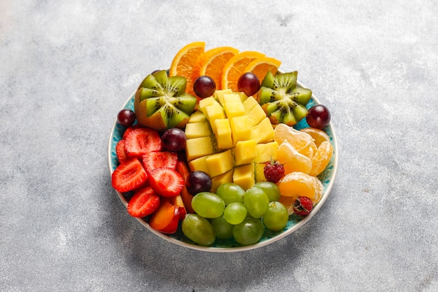 Fruits and berries platter,vegan cuisine.