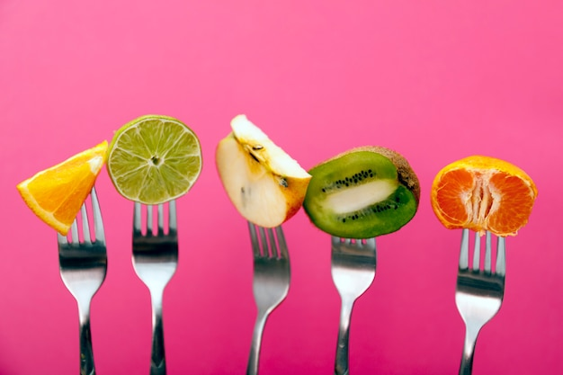 Fruits on fork isolated