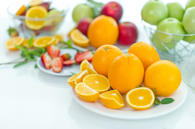 The fruits of health lover healthy fruit and health care to eat healthy food. to the skin.