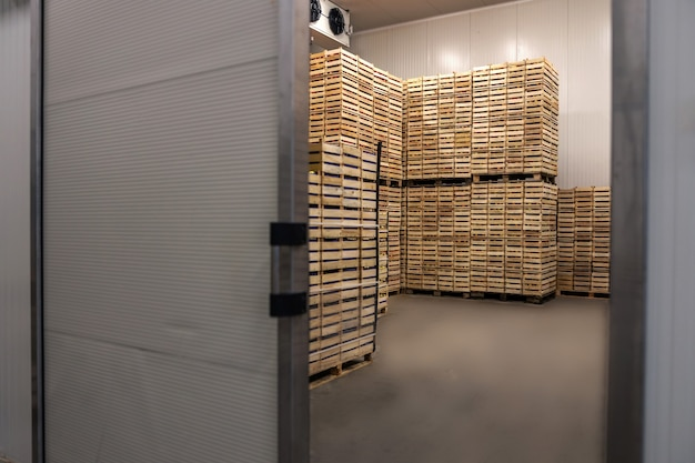 出荷の準備ができている木枠の果物。冷蔵インテリア。 Premium写真