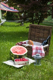 Fruits and picnic basket with lantern on green grass