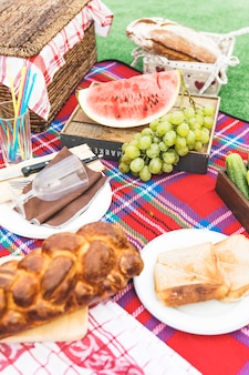 Fruits; sandwiches and baked braided bread loaf on blanket