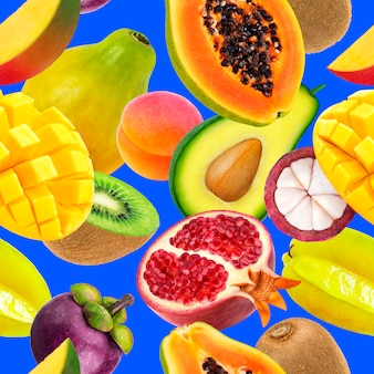 Fruits seamless pattern background falling exotic fruits isolated on blue
