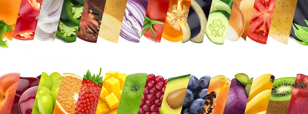 Fruits and vegetables in stripes closeups collage