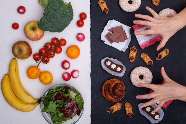 Fruits and vegetables vs donuts, sweets and burgers