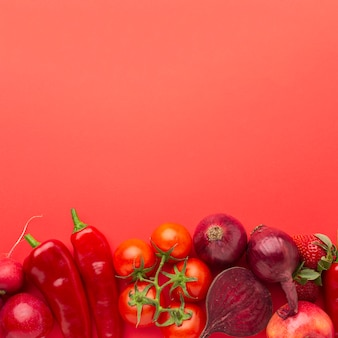 Fruits and vegetables with copy space