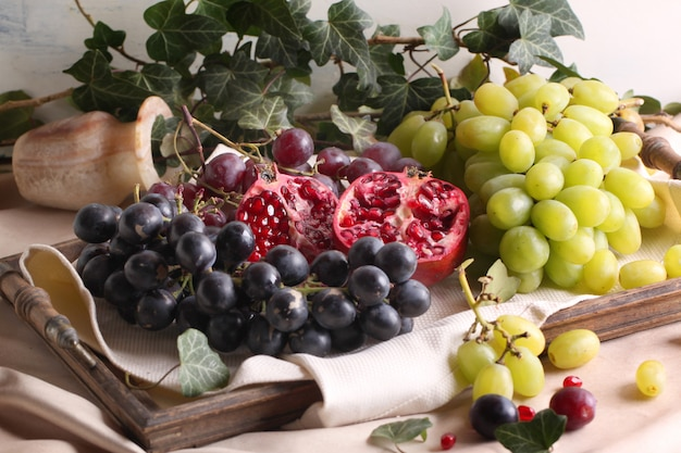 Fruits on vintage tray