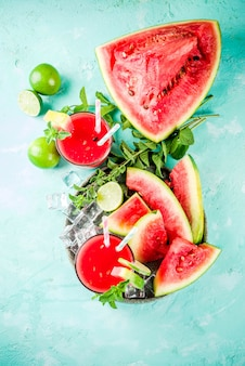 Fruity summer cold drink, homemade watermelon juice or smoothie