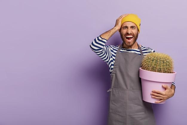 欲求不満のイライラした男性の庭師は鉢植えの植物を保持します
